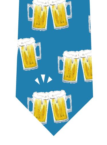 ビールで乾杯ネクタイの写真